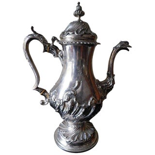 1759 William Shaw & William Priest London George II Silver Coffee Pot For Sale