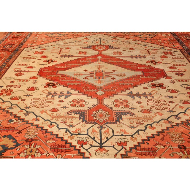 Islamic Antique Serapi Persian Ivory Rug - 11′ × 12′6″ For Sale - Image 3 of 10