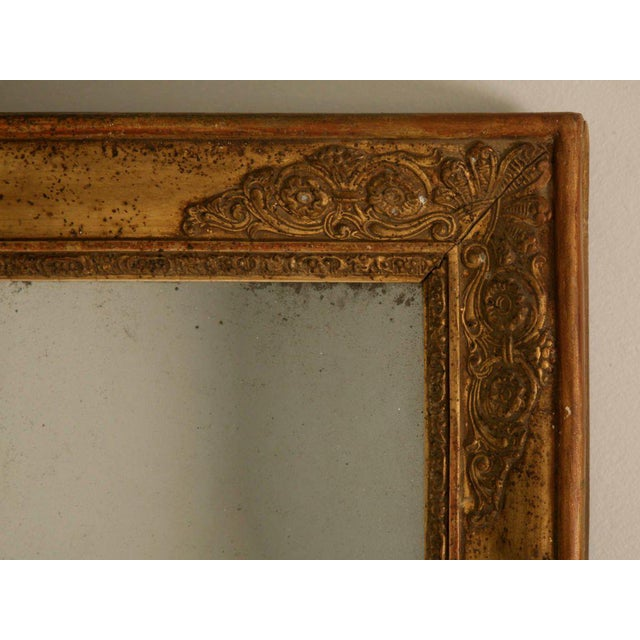 Petite All Original 18th C. Antq French Gilt Framed Sugar Mirror For Sale - Image 11 of 12