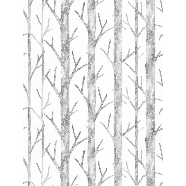 "Pattern Repeat: HORIZONTAL 26""/66.04 cm, VERTICAL 17.5""/44.45 cm. Linear yet organic, leafless trees are nature's answer..."
