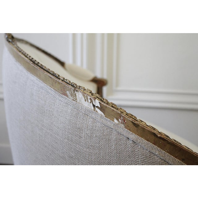 19th Century Louis XVI Style French Settee Upholstered in Antique Grain Sack For Sale - Image 10 of 13