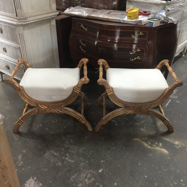 X-Base Gilded Wood Accent Benches - A Pair