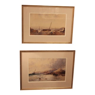 Antique English Watercolor Paintings - Pair For Sale