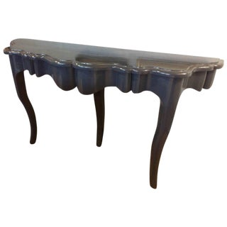 Blue Lacquered Console Table For Sale