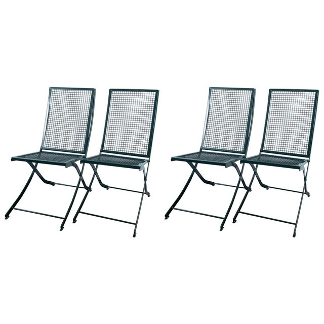Set Of Four French Iron Garden Chairs Chairish