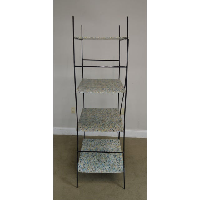 Whimsical Mid Century Modern Iron Etagere Display Rack For Sale - Image 4 of 12