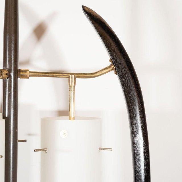 Black Italian Midcentury Sculptural Ebonized Walnut, Brass & Frosted Glass Floor Lamp For Sale - Image 8 of 10