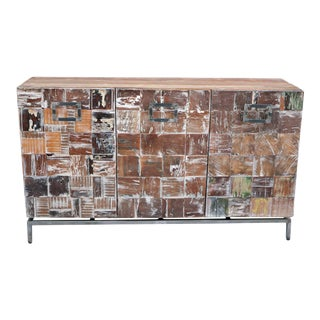 Rustic Braun Wooden Sideboard, Storage Organizer, Living Room Organizer For Sale