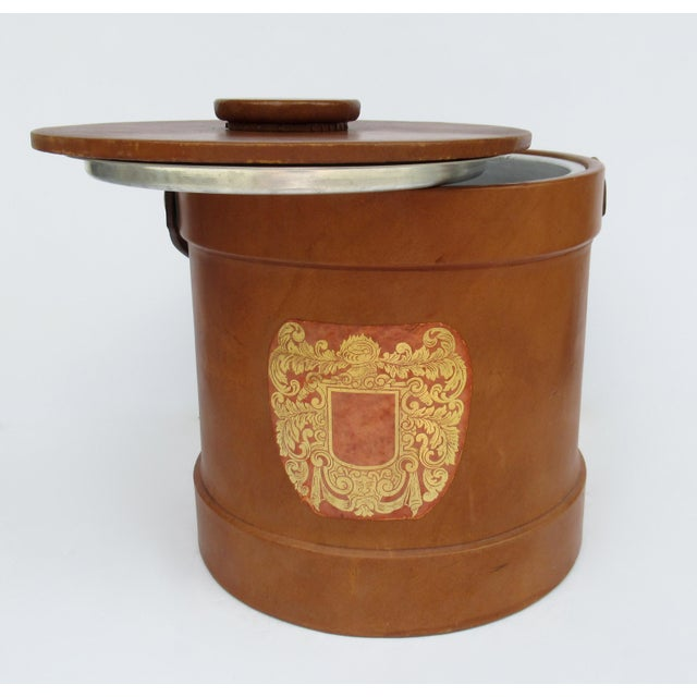 Vintage Italian Ralph Lauren-Style Tooled Saddle Leather Oversized Traveling Cooler, Wine Holder And/Or Ice Bucket For Sale - Image 10 of 13