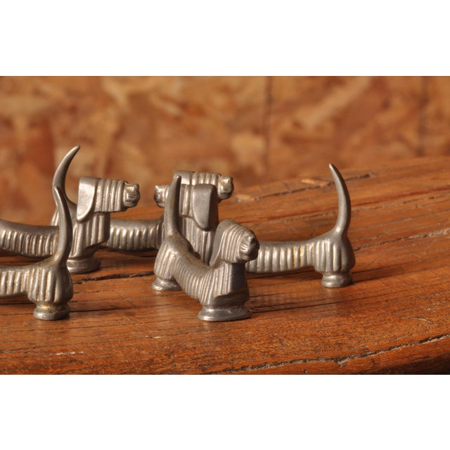 Art Deco Six Pewter Hounds by C.G.HallBERG, Sweden 1920s For Sale - Image 3 of 5