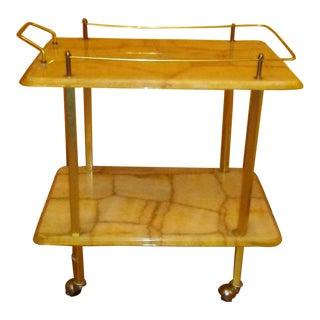 1970s Italian Alabaster Bar Cart For Sale