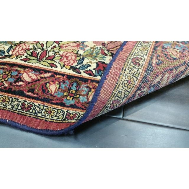 """Textile Antique Kerman Handmade Wool Rug - 4'4"""" X 6'6"""" - Size Cat. 4x6 5x7 For Sale - Image 7 of 8"""