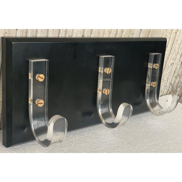 Mid-Century Modern Ebonized Coat Rack With Three Lucite Hangers, 1950, Italy For Sale - Image 4 of 11