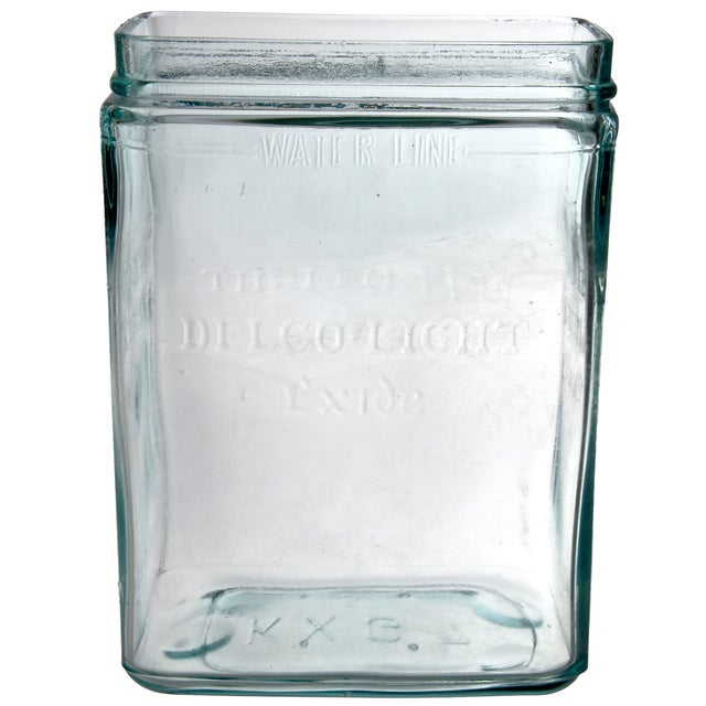 Vintage Delco Green Glass Battery Jar For Sale