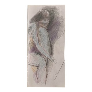 1990s Vintage Pensive Female Nude Mixed Media Drawing For Sale