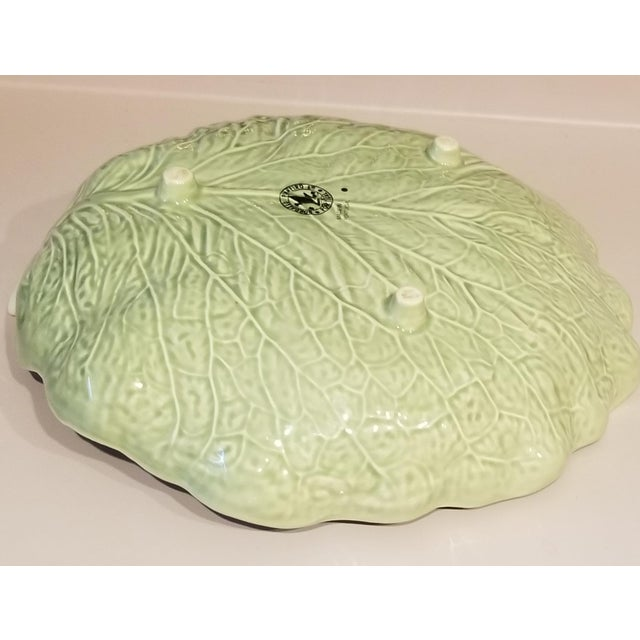 Bordallo Pinhiero Majolica Green Cabbage Leaf Serving Dish For Sale - Image 4 of 9