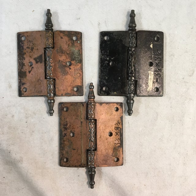 These gorgeous Eastlake Victorian door hinges are made out of a heavy iron and are perfect for any period or Victorian-...