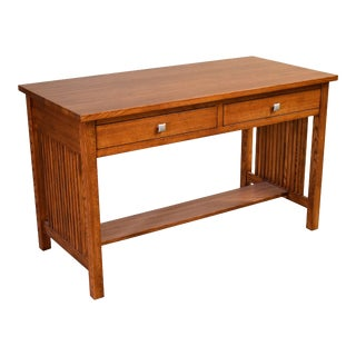 Crafters and Weavers Mission 2 Drawer Library Table Desk - Michael's Cherry (Mc3) For Sale