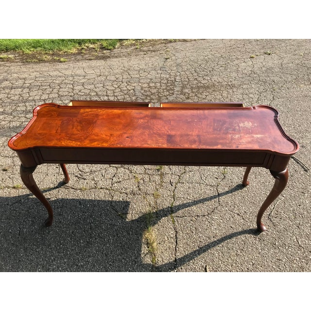 Metal Traditional Walnut Console by Hekman For Sale - Image 7 of 10
