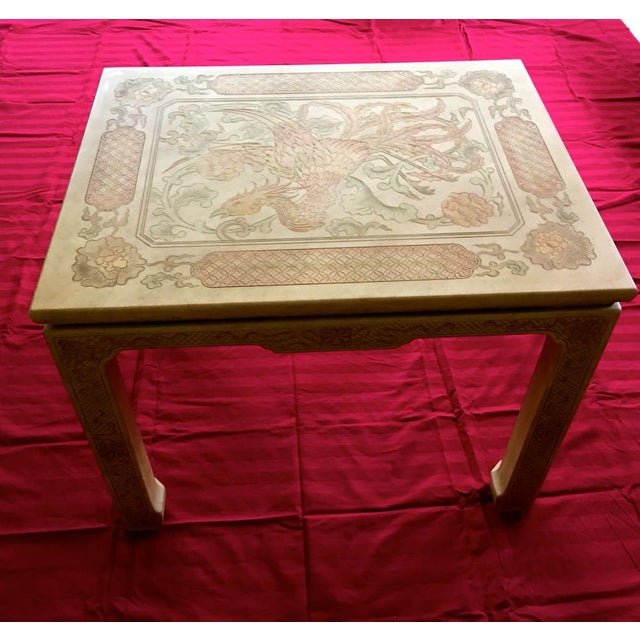 1980's Chinoiserie Custom John Widdicomb Mario Buatta Incised Phoenix Lamp Table For Sale - Image 12 of 12