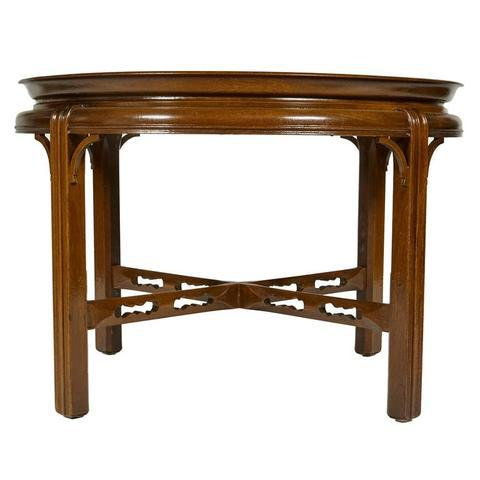 Vintage round mahogany side table with reticulated stretchers by Berkey & Gay Furniture Co of Grand Rapids Michigan....