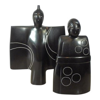 1960s Japanese Masatoyo Kishi Numbered and Signed Vintage Sculptures - Set of 2 For Sale