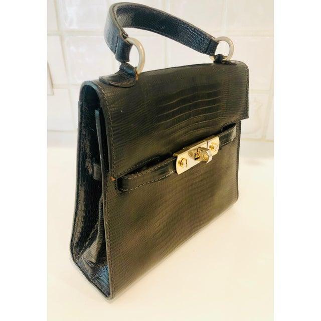Black 1980s Petite Lizard Skin Kelly Style Purse For Sale - Image 8 of 12