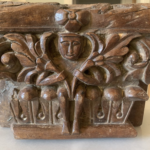 Wood C. 1880 Anglo Indian Carved Teak Architectural Column Top For Sale - Image 7 of 13