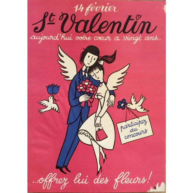 """Contemporary Raymond Peynet Original Lithograph """"The Lovers on Valentines Day"""" For Sale - Image 3 of 3"""