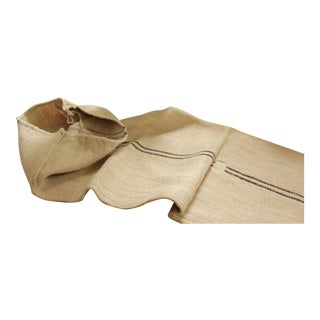 Vintage Rustic Black Striped Patched Linen Grain Sack For Sale