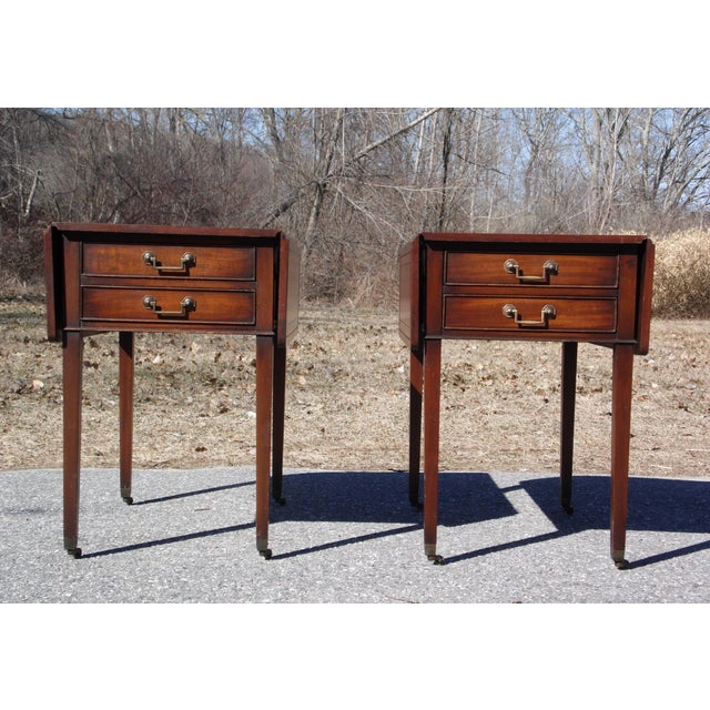 Traditional Pair Federal Leather Top Mahogany Drop Leaf End Tables Nightstands For Sale - Image 11 of 13