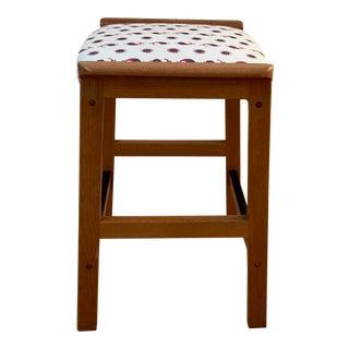 Mid-Century Modern Linen Upholstered Teak Counter Stool For Sale