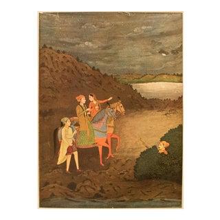 Rare 1950 Raz Bahadour and the Princess Roupmati, Gold-Leafed Original Parisian Lithograph For Sale