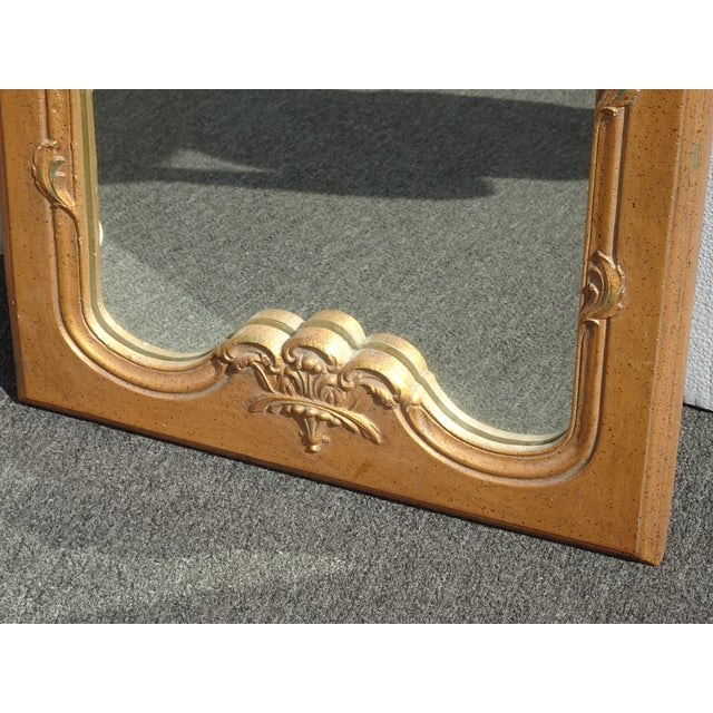 1950s Vintage French Provincial Gold Wall Mantle Mirror For Sale - Image 10 of 13