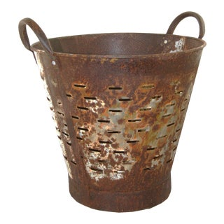 Vintage Olive Bucket | Harvest Bucket For Sale