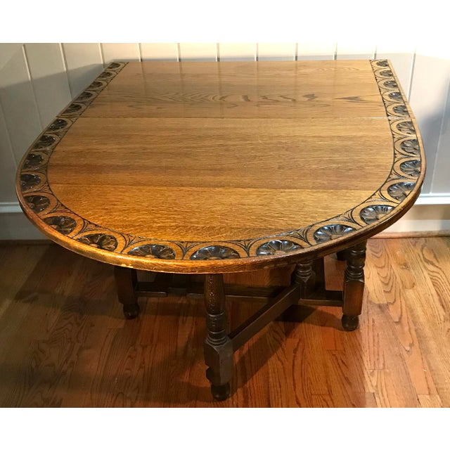 Vintage Carved Top Drop Leaf Table For Sale In Dallas - Image 6 of 13