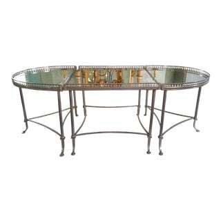 Silver Colored Tripartite Coffee Table With Oxidized Mirrored Glass and Gallery Top. Attributed to Maison Bagues.
