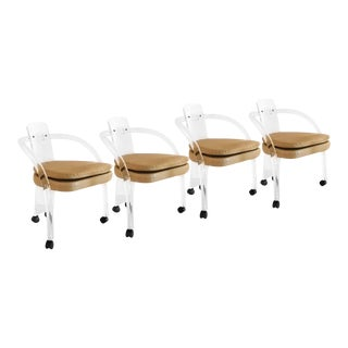 Four Mid Century Charles Hollis Jones Style Lucite Chairs For Sale