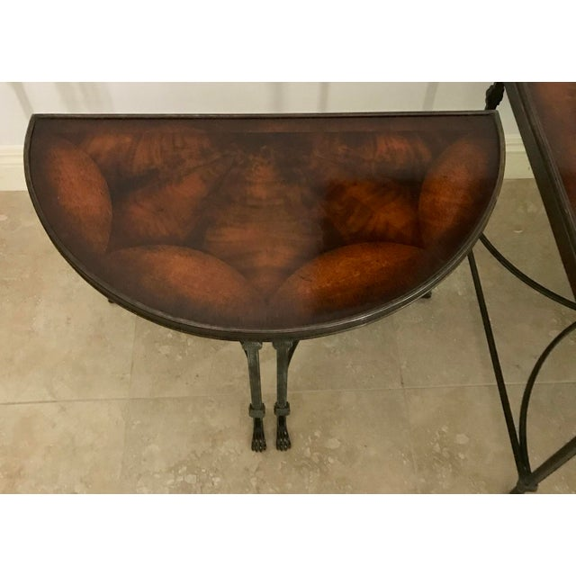 Mid 20th Century Vintage Traditional 3 Piece Bronze and Burled Wood Coffee Side Table Set - 3 Pieces For Sale - Image 5 of 10