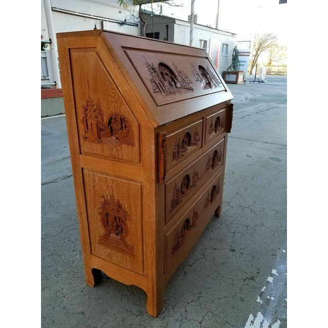 Superior quality, craftsmanship and materials. Exceptional original condition. Carved hardwood compartmentalized drop-...