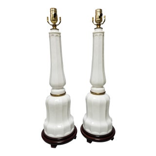 Paul Hanson White Opaline Glass Lamps - a Pair For Sale
