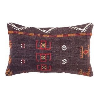 "MidCentury Kilim Lumbar Pillow | 12"" X 20"" For Sale"