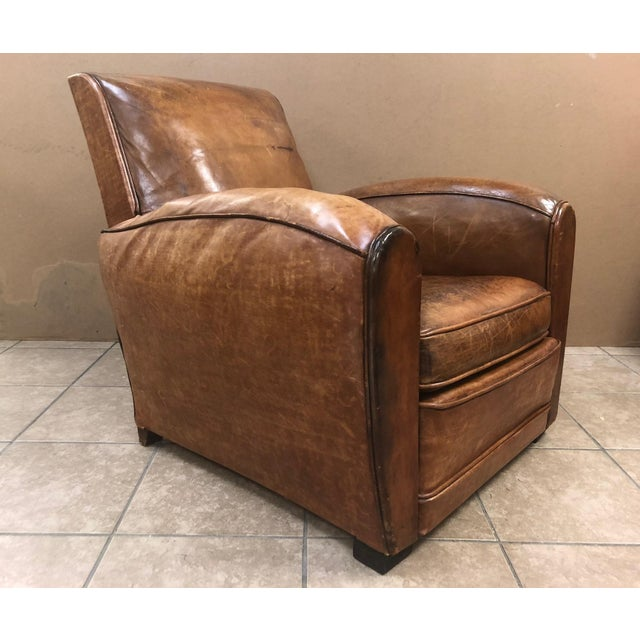 1940s French Art Deco Leather Lounge Chair For Sale - Image 11 of 11
