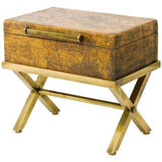 Leather Trunk on Brass Base by Hart Associates For Sale
