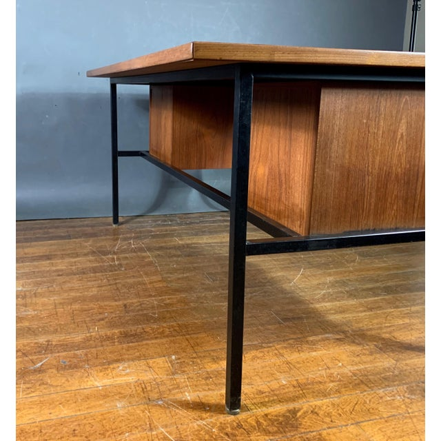 Brass Mid-Century Teak & Black Lacquer 7-Drawer Desk For Sale - Image 7 of 11