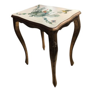 Vintage Mid Century Gold Gilt Signed Table For Sale