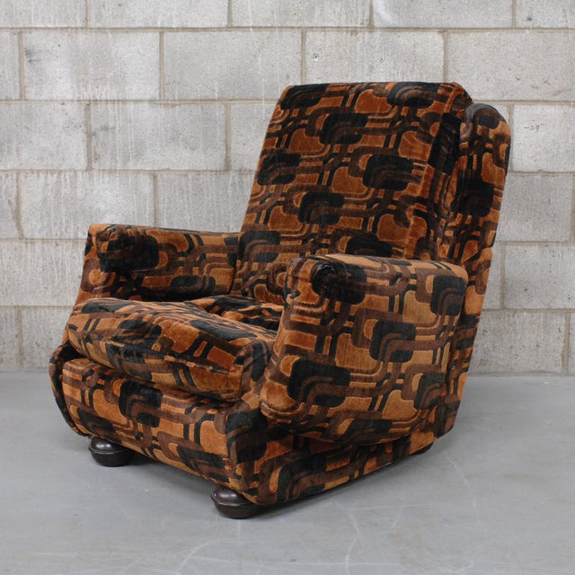 French Vintage French Retro Brown Armchairs - A Pair For Sale - Image 3 of 9