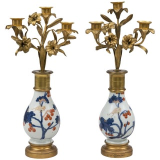 """Pair of French Candelabrum on """"Imari"""" Stands For Sale"""