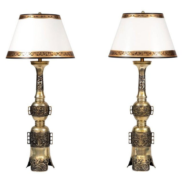 Metal 19th Century Chinese Bronze Altar Stick Lamps - a Pair For Sale - Image 7 of 7