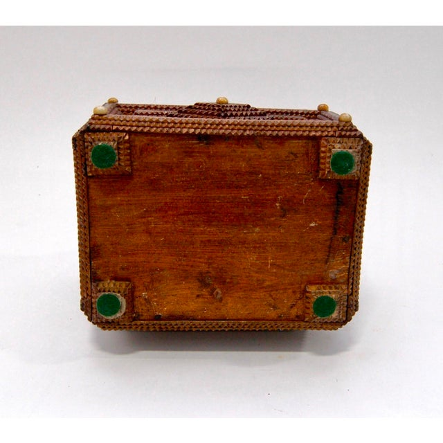 Antique French Tramp Art Sewing Box with Raised Velvet Green Pin Cushion For Sale - Image 9 of 10